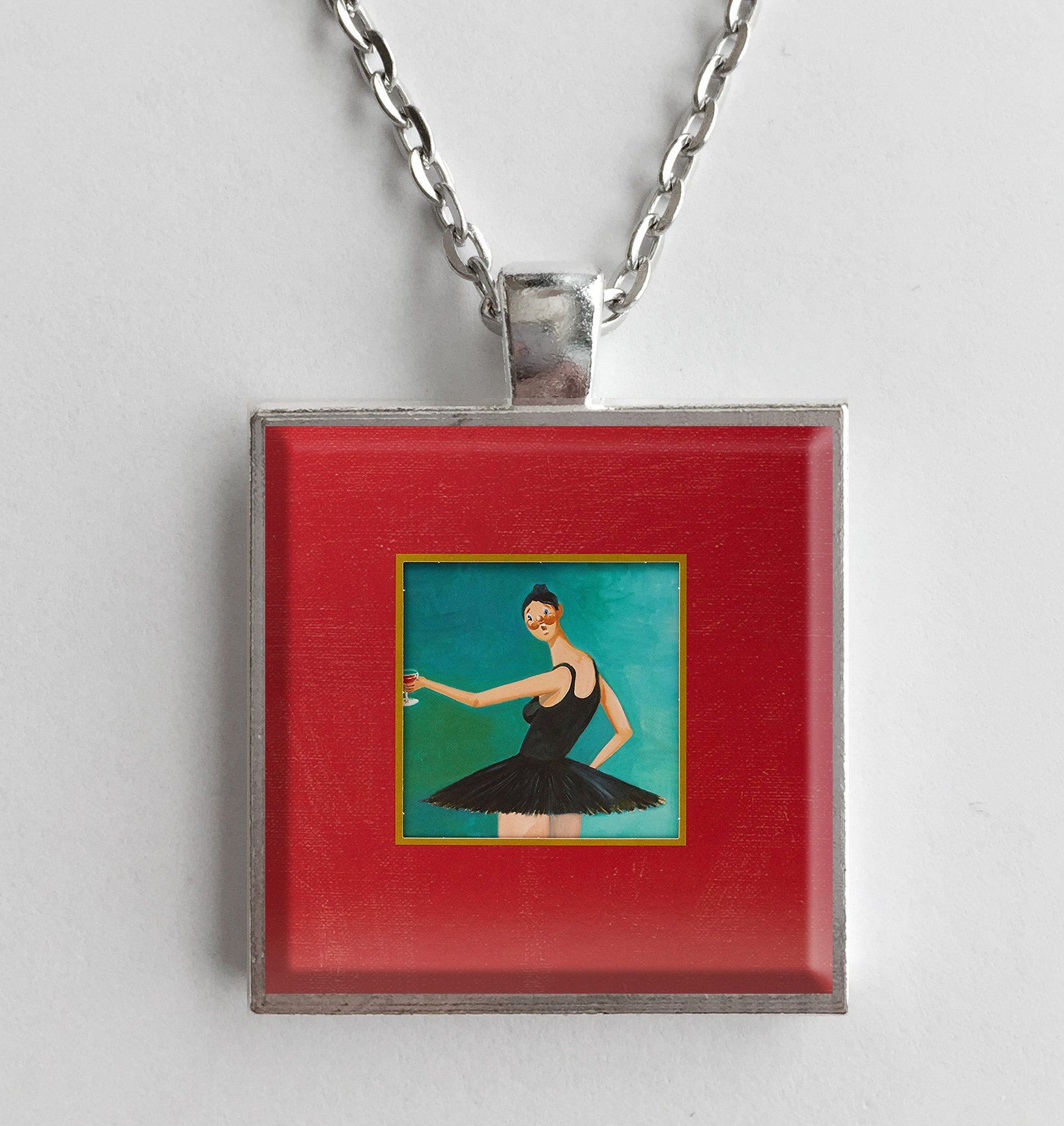 Kanye West My Beautiful Dark Twisted Fantasy Album Cover Art Pendant Necklace Beautiful Dark Twisted Fantasy Dark Twisted Cover Art