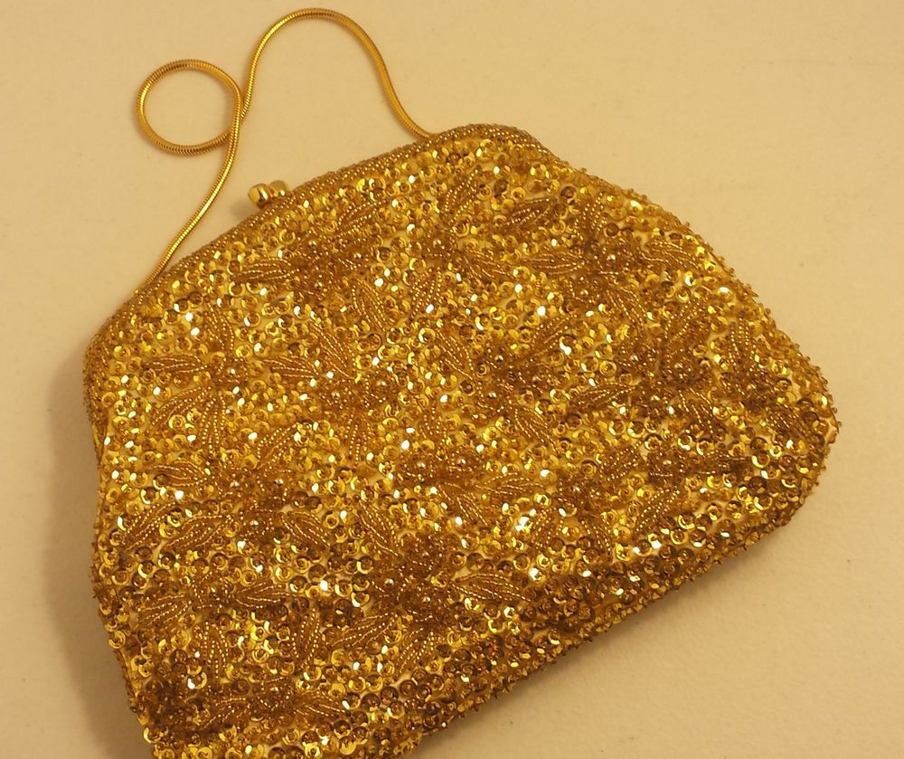 VTG WALBORG 1960s Chere Evening Bag Purse Golden Hand Beaded Hong Kong VOGUE