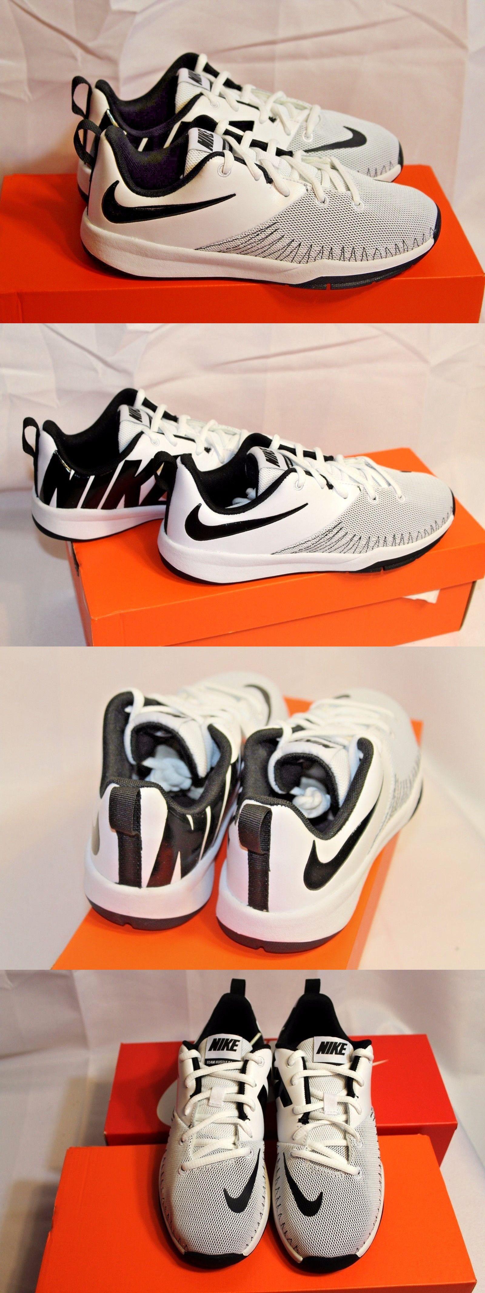 e9f334c039eb Boys Shoes 57929  New School Age Nike Team Hustle D7 Low White Black  Basketball Athletic