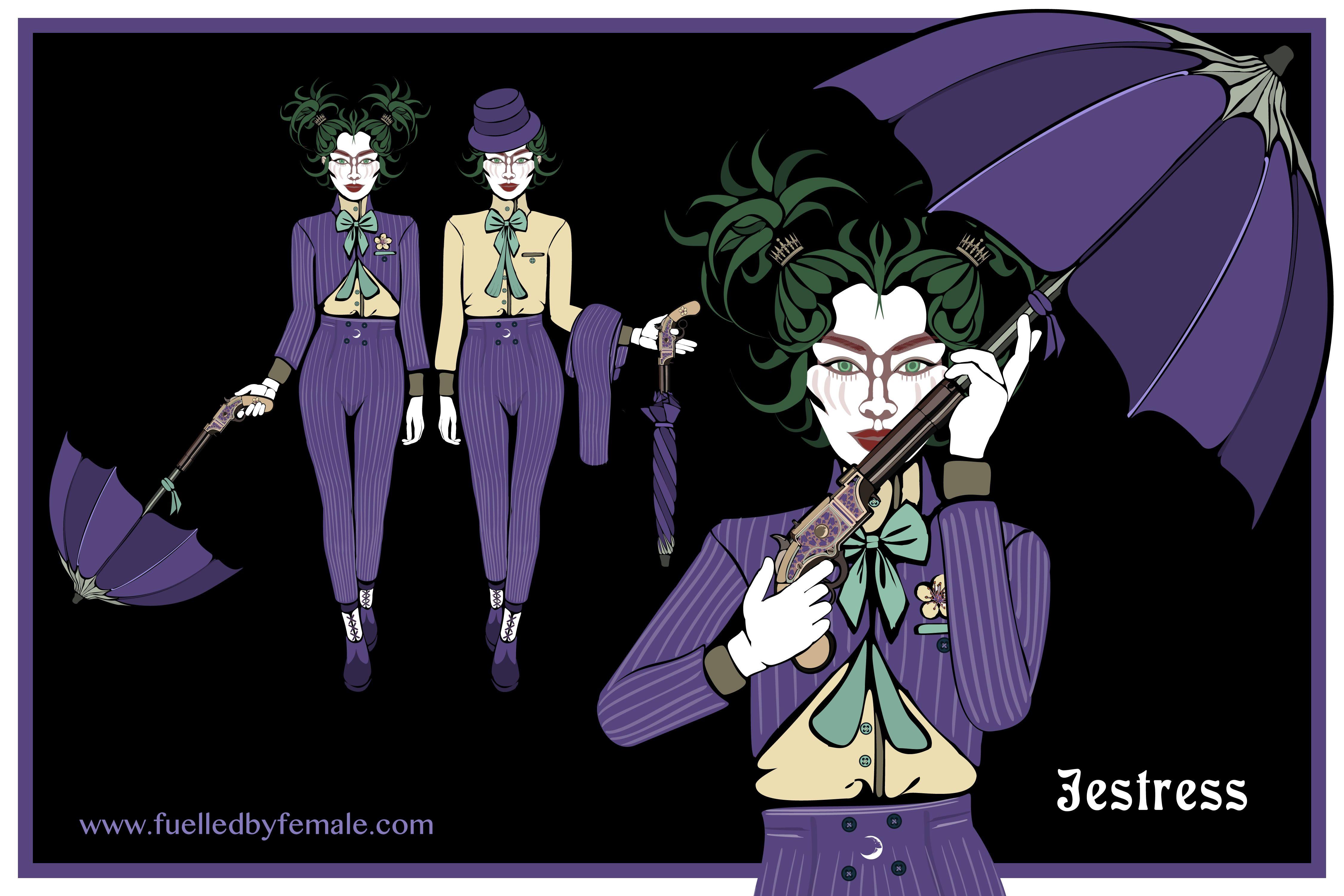 Jestress (with Victorian pistol handle umbrella) - Daniel Orlick fashion art #fuelledbyfemale