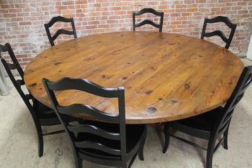 Rustic 84 Round Table Craftsman Dining Tables Boston Ecustomfinishes Round Farmhouse Table Home Furniture