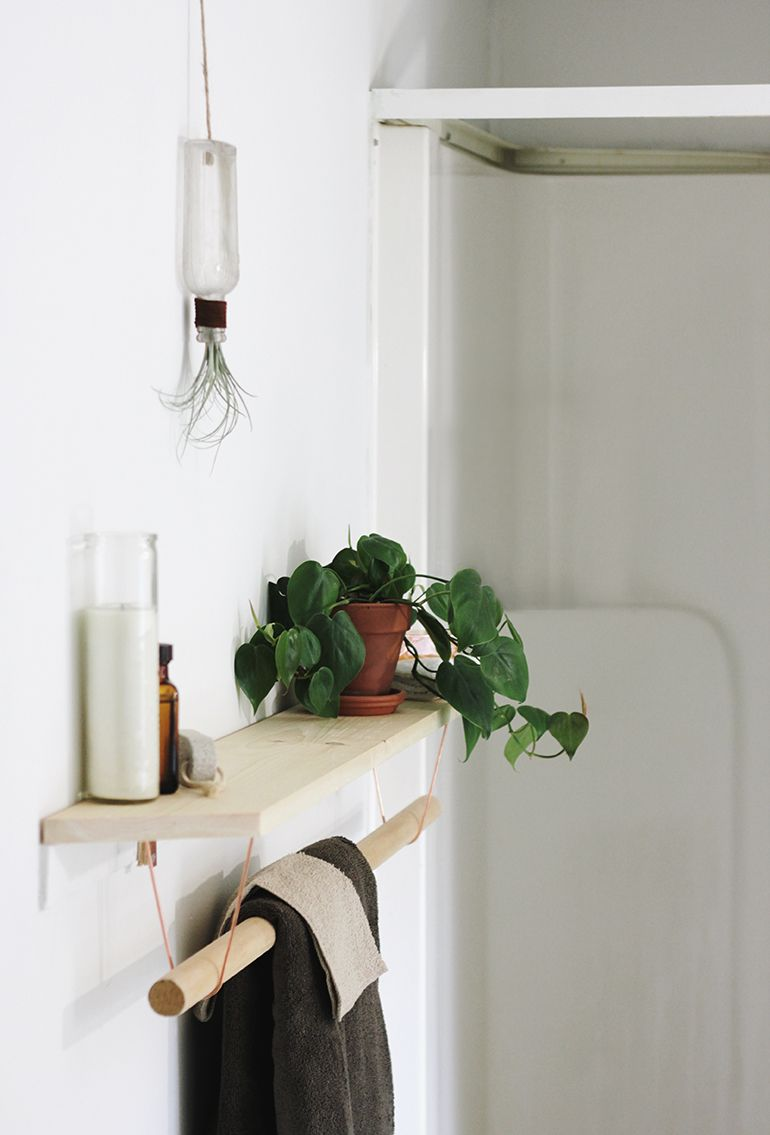 Hanging Bathroom Shelves Pleasing Diy Towel Rack & Shelf  Rack Shelf Towels And Shelves Inspiration Design