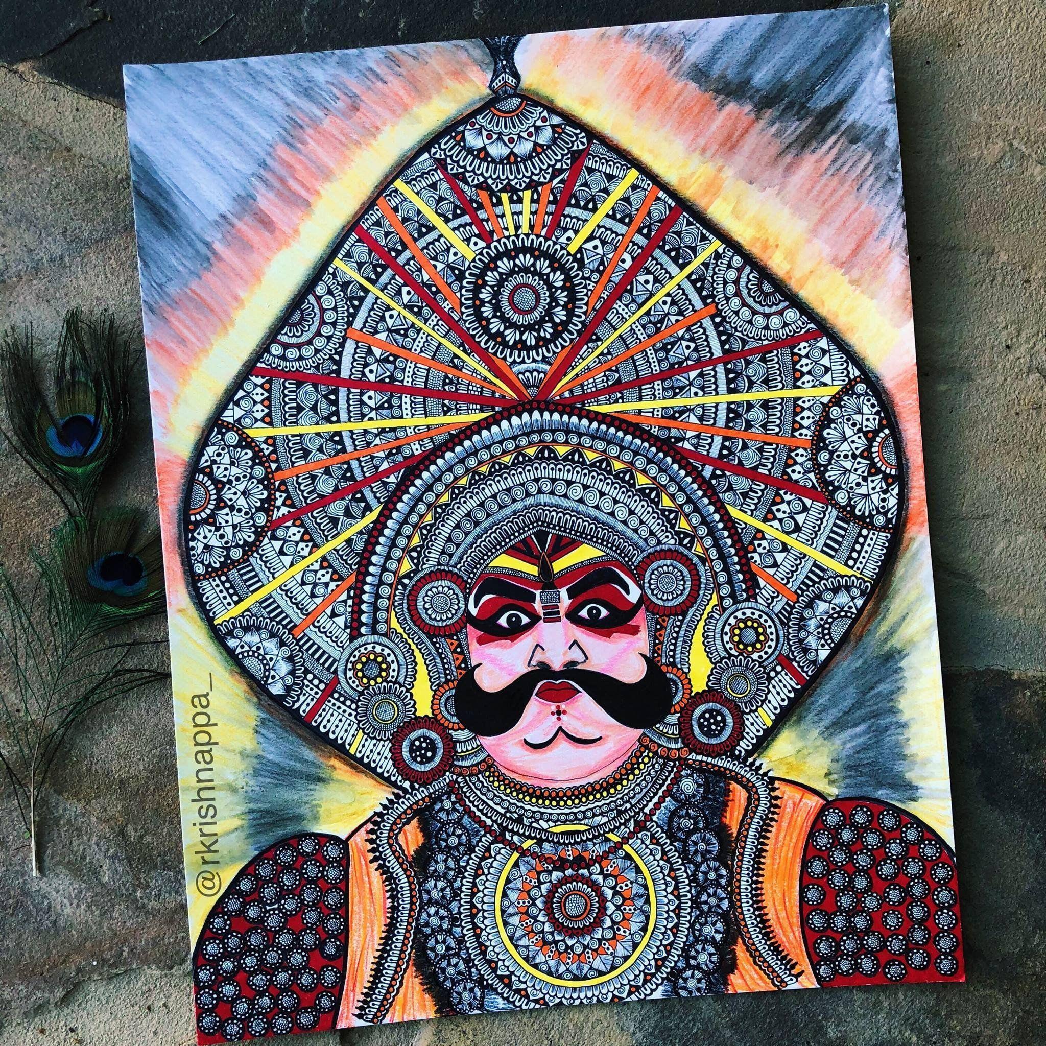 Yakshagana dancer face art print etsy