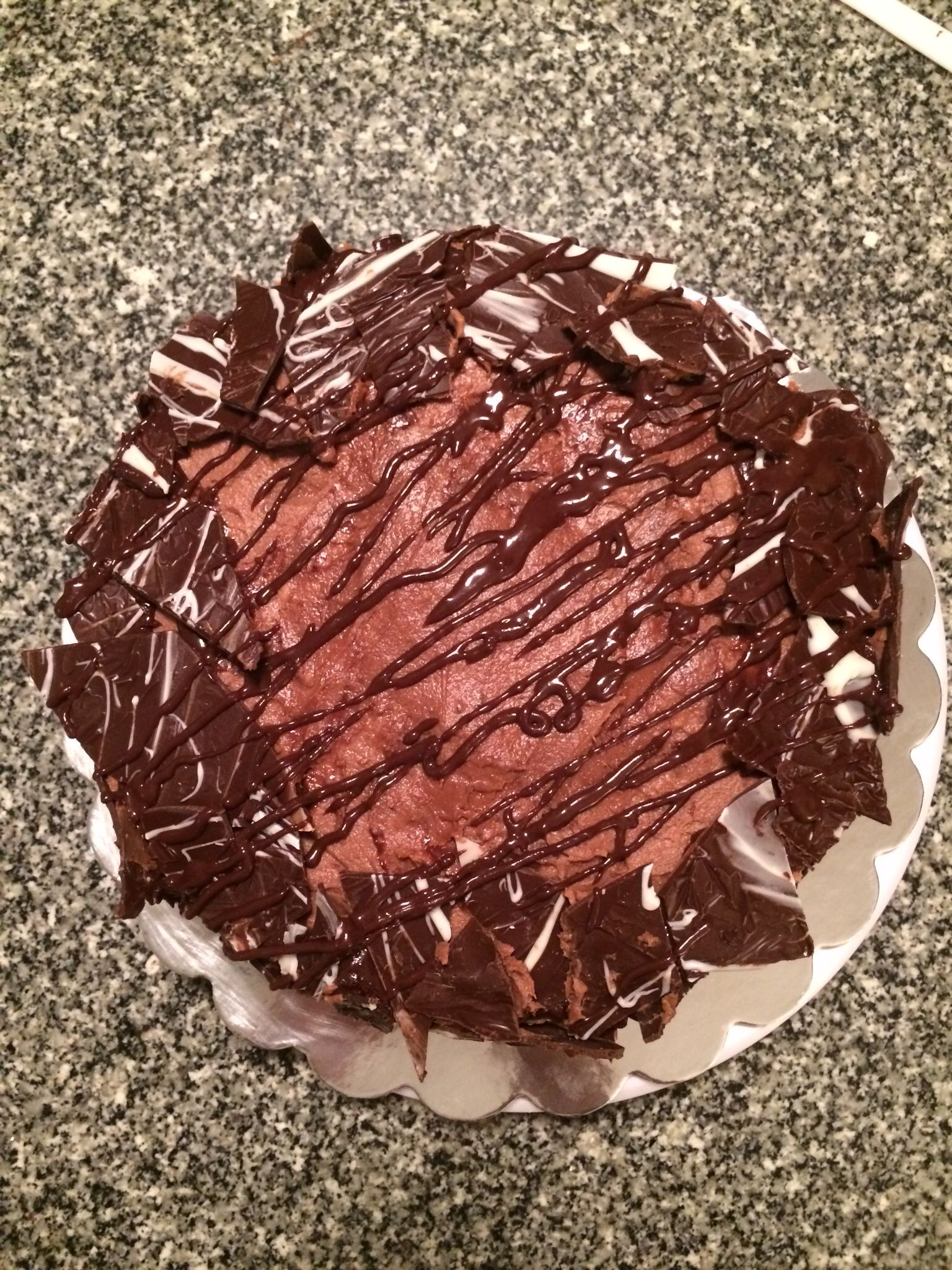 Chocolate explosion cake with #chocolate ganache and chocolate shards!
