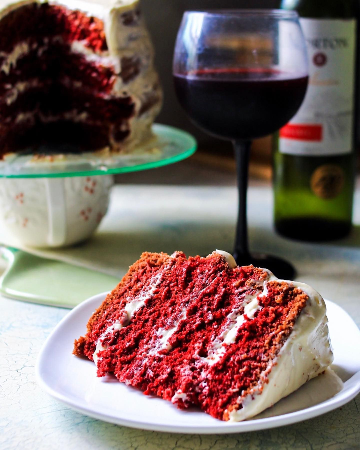 It S Nationalwineday And I Can T Think Of A Better Pairing For A Glass Of Red Wine Than My Gluten Free Red Velvet Ca In 2020 Gluten Free Red Velvet Cake Food