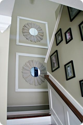 Knockoff sunburst mirror diy and crafts staircase wall - How to decorate tall walls ...