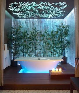 37 Amazing Bathroom Designs That Fused with Nature. Love the ceiling  treatment.