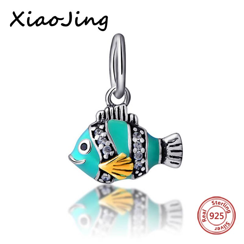 906ec7ca7 New Style 925-Sterling-Silver Blue Enamel Fish Pendants Charms Beads Fit Authentic  Pandora Bracelets Charms Beads Jewelry Gifts