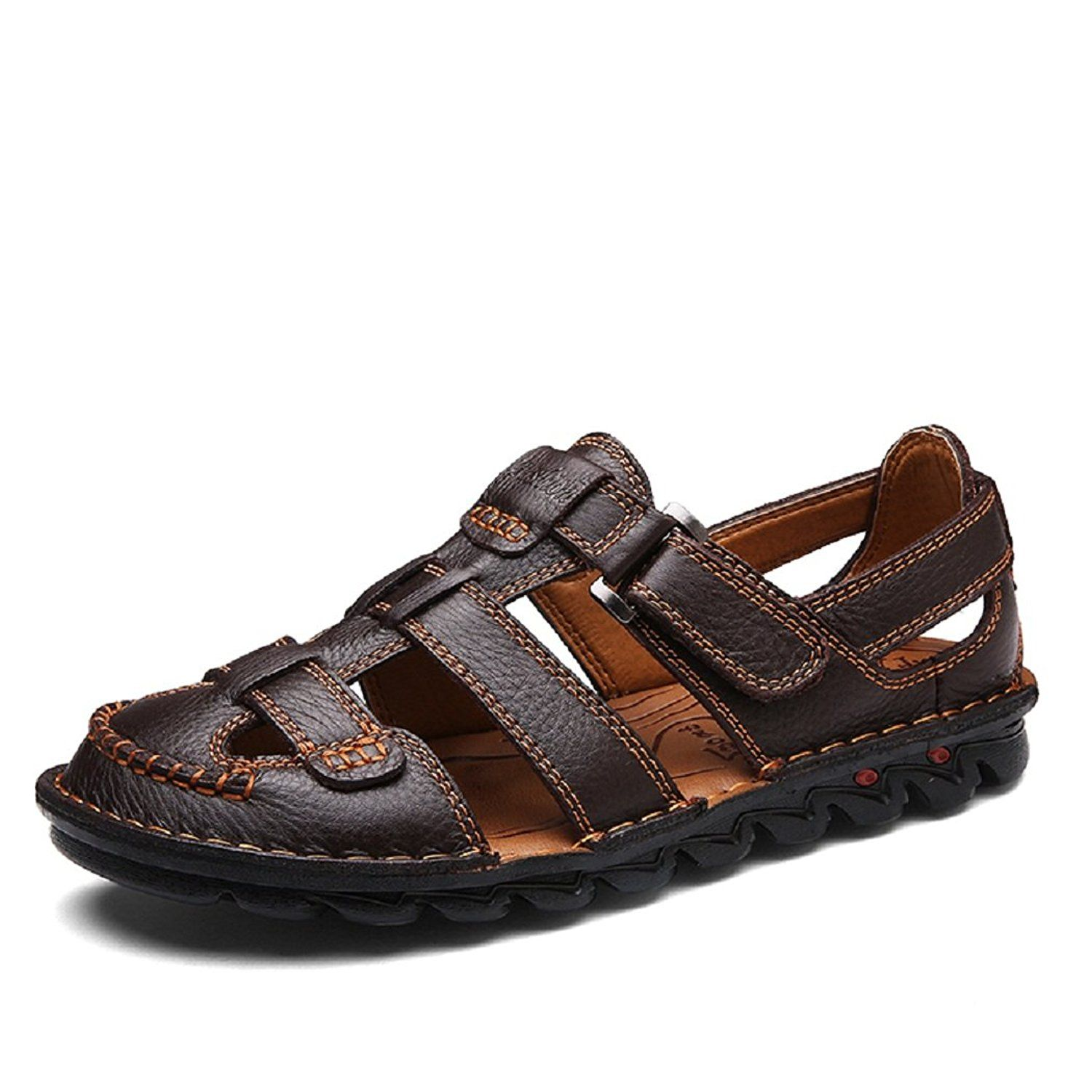 24602fc69e22 Men s Casual Outdoor Strap Summer Fisherman Leather Sandals Brown 43 ...