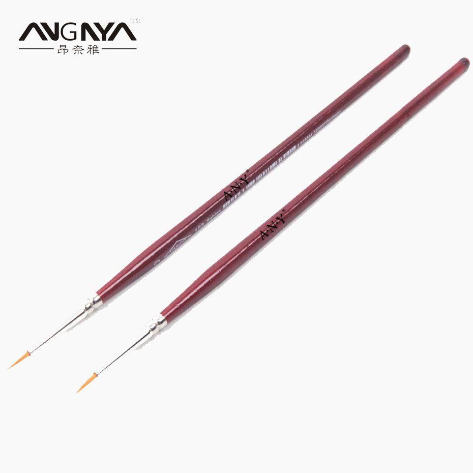 2PCS ANGNYA Rose Red Wood Handle French Nail Art Liner Brushes ...