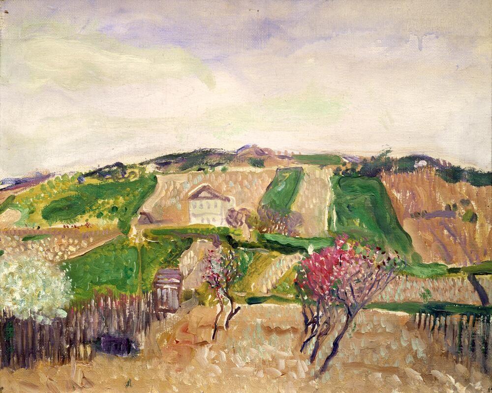 Richard Gerstl, Grinzing, Frühling 1906, Öl auf Leinwand, 29,7 x 40,2 cm (Privatsammlung)