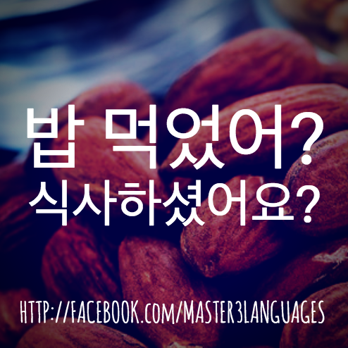 Korean (http://bit.ly/learningkorean): 밥 먹었어? 식사하셨어요?  #korea #word #korean #learn #study #vocabulary #phrase #expression #example #poster #postcard #master3languages #koreanclass101 Facebook.com/Master3Languages