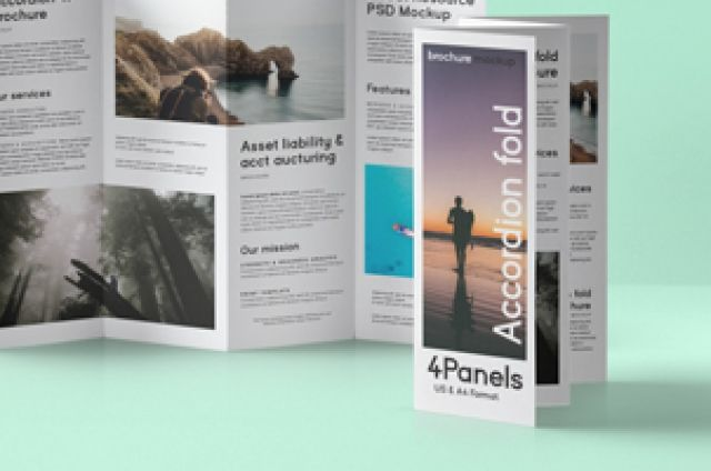 This Is A Panels Psd Accordion Fold Brochure Mockup Template - Four fold brochure template