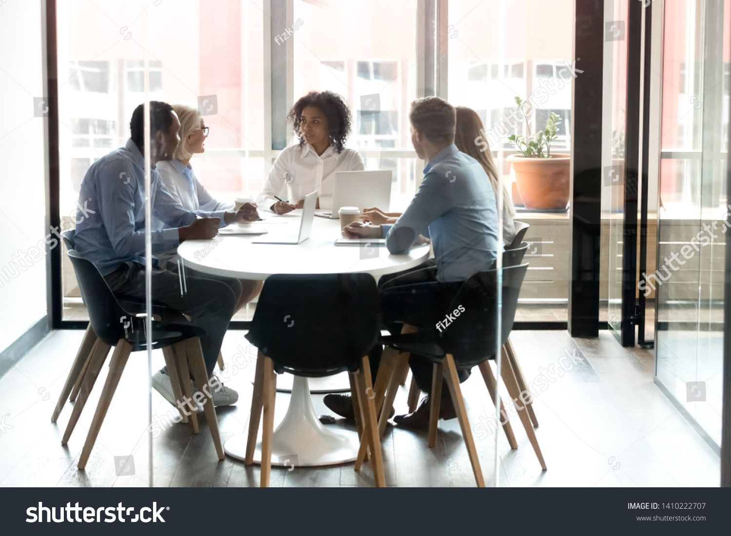 Multiracial business team people with african female