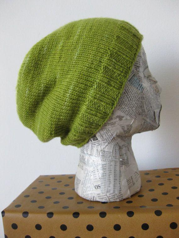Apple Green Wool Knit Slouch Hat by NellieLu on Etsy ...