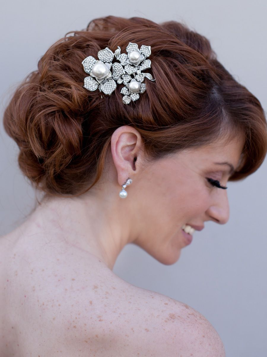 Rhinestone and Pearl Flower Comb ~ Kalani - Hair Comes the Bride Bridal Hair Accessories & Headpieces, Wedding Jewelry, Hair & Makeup