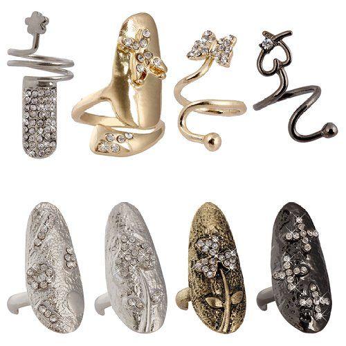 BMC 8pc Women Cool Retro Fashion Single Nail Ring Mixed Metal Rhinestone Popular Finger Designs: Amazon.co.uk: Jewellery