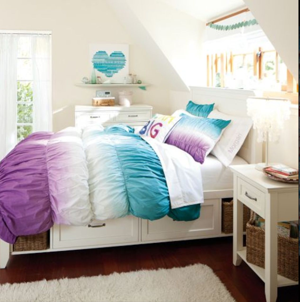 Cute, with tie dye bedding and beach decor.