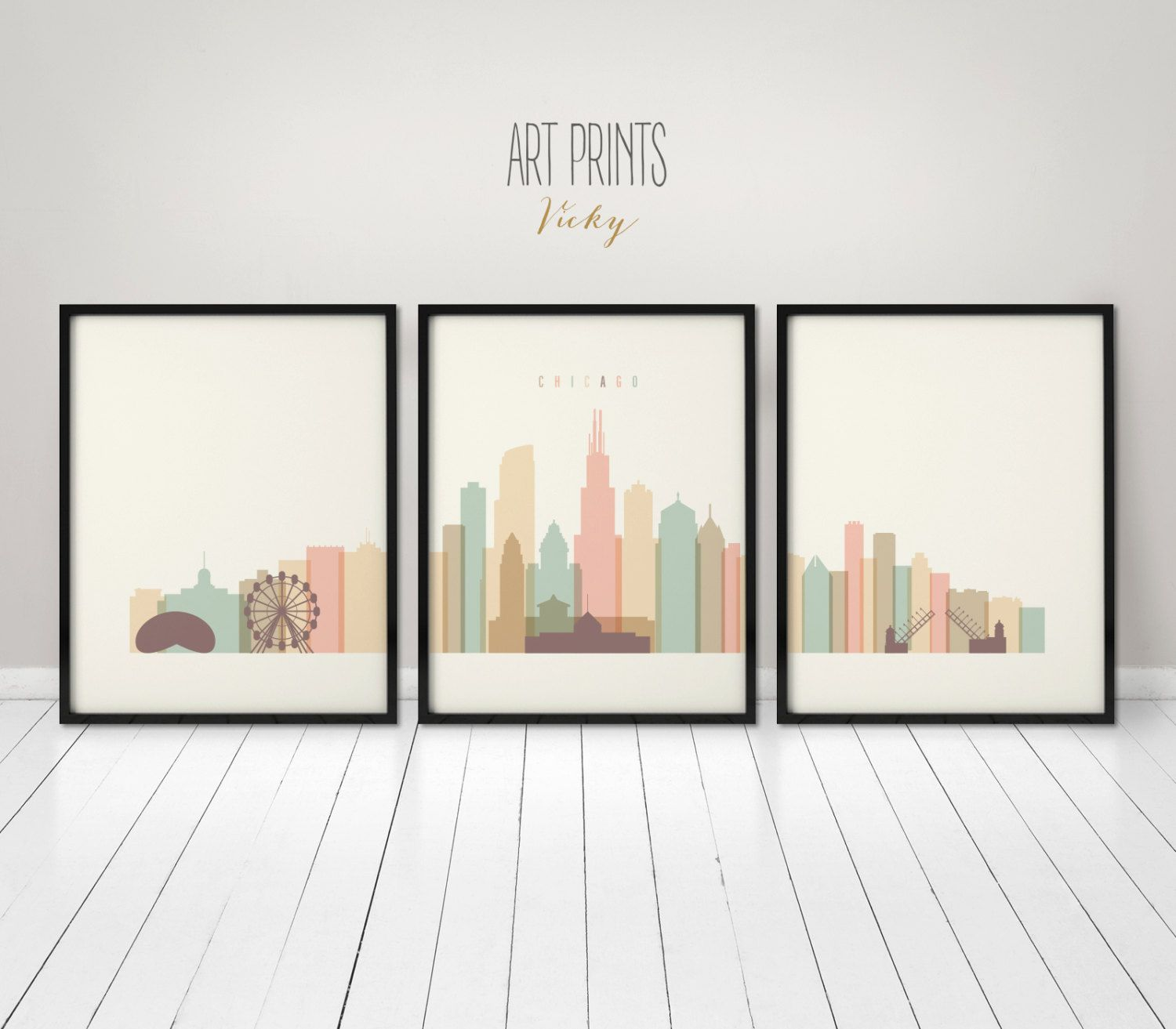 Chicago Art Prints Set Posters Wall Art Large Wall Art 3 Pieces Of Chicago Skyline City Poster Travel Ho Poster Prints Poster Wall Art Triptych Wall Art