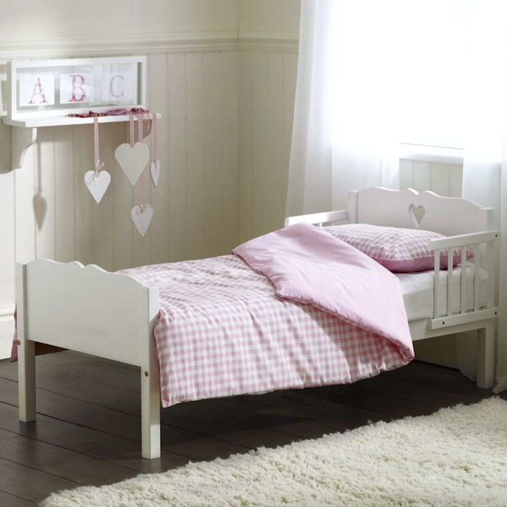 new childs saplings white heart junior toddler baby bed sprung