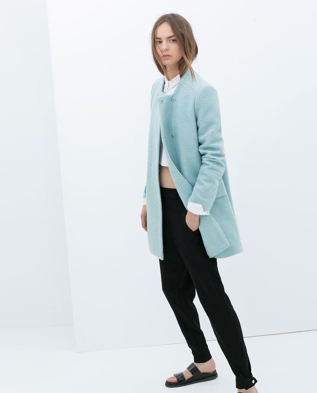 abrigo azul pastel zara