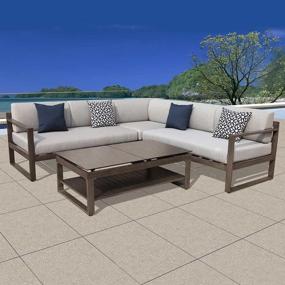 Ove Decors Outdoor Patio L Shaped Sectional Sofa Set Gray Grey Size 4 Piece Sets Furniture Aluminum