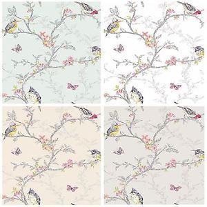 Beautiful Room Decor Holden Phoebe Birds Wallpaper Cream Grey White Or Teal