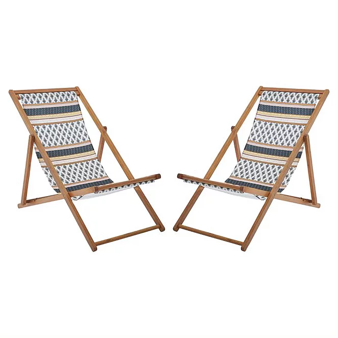 Tribal Pattern Folding Deck Chairs 2 Pack Outdoor