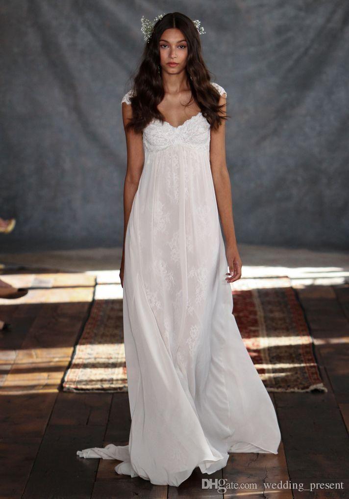 Großhandel Backless Lace Brautkleider Mit Capped Ärmeln A Line Sweep ...