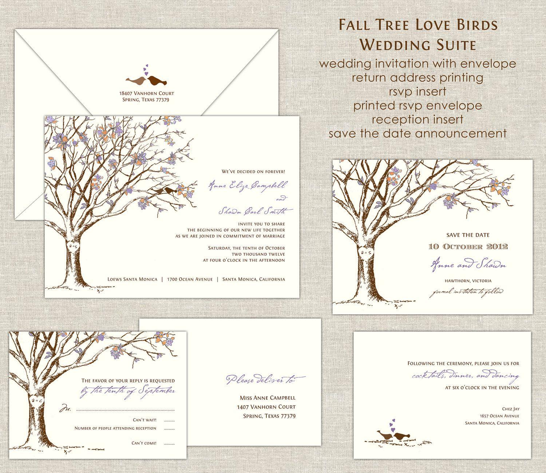Love Birds Cherry Blossom Tree Wedding Invitation Suite 28000 Via Etsy: Spring Bird Themed Wedding Invitations At Reisefeber.org