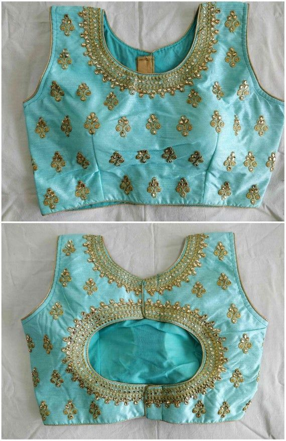 Photo of Free Shipping for USA Wedding Saree Embroidered Work Readymade Party Wear Stitched Blouse Crop Sari Top New Banglori Silk For Women