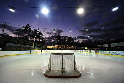 Outdoor rink. Under the lights.