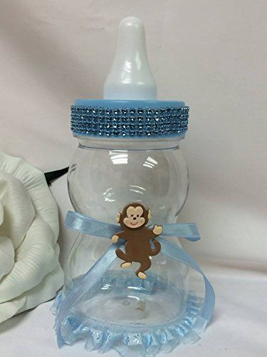 Blue baby jumbo fillable baby shower bottle with monkey for Baby bottle decoration ideas