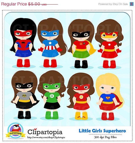 50 Off Sale Girl Superhero Clip Art  Little Girls -5416