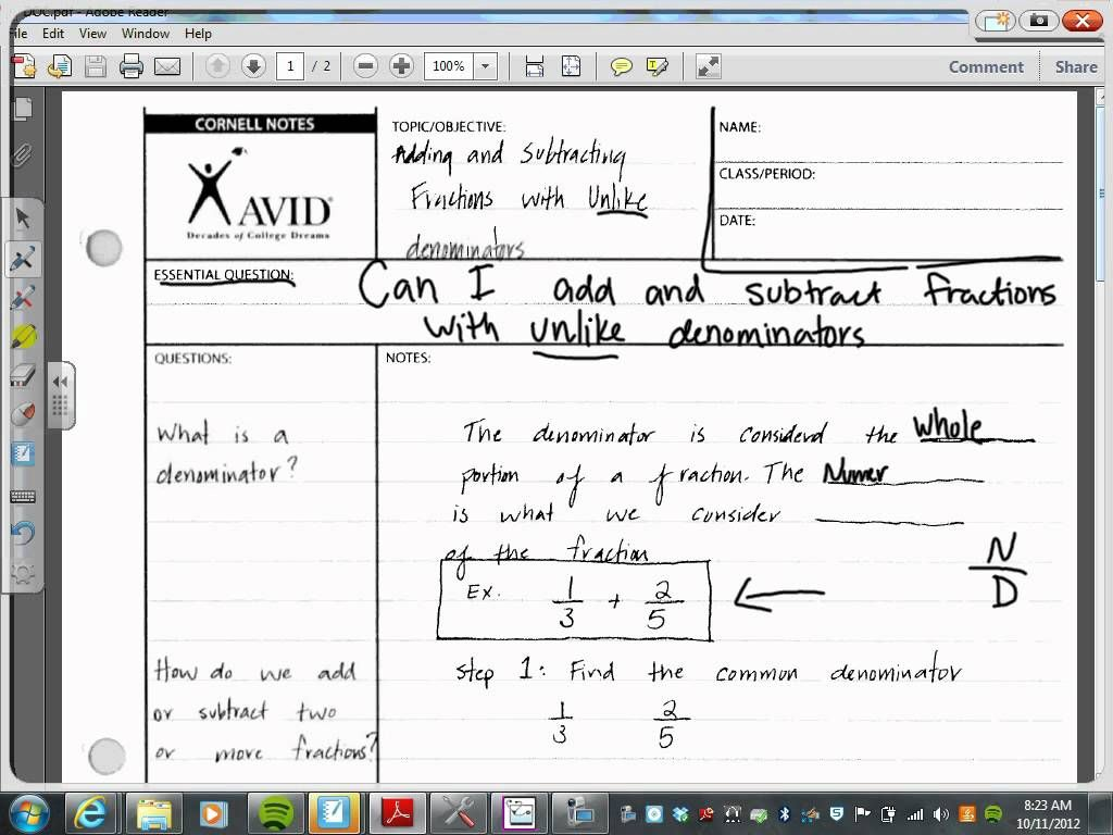 Image Result For Avid Math Cornell Notes