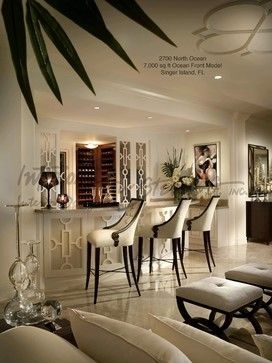 Contemporary Family Room With Wine Bar
