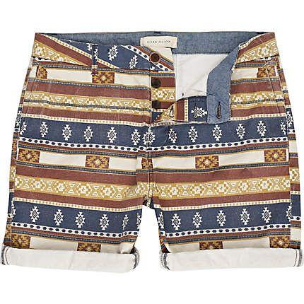orange aztec print shorts - casual shorts - shorts - men - River Island