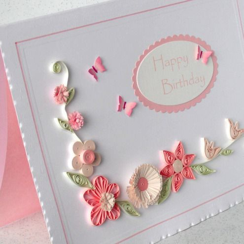 quilling birthday cards   Quilled birthday card with quilling flowers - Folksy