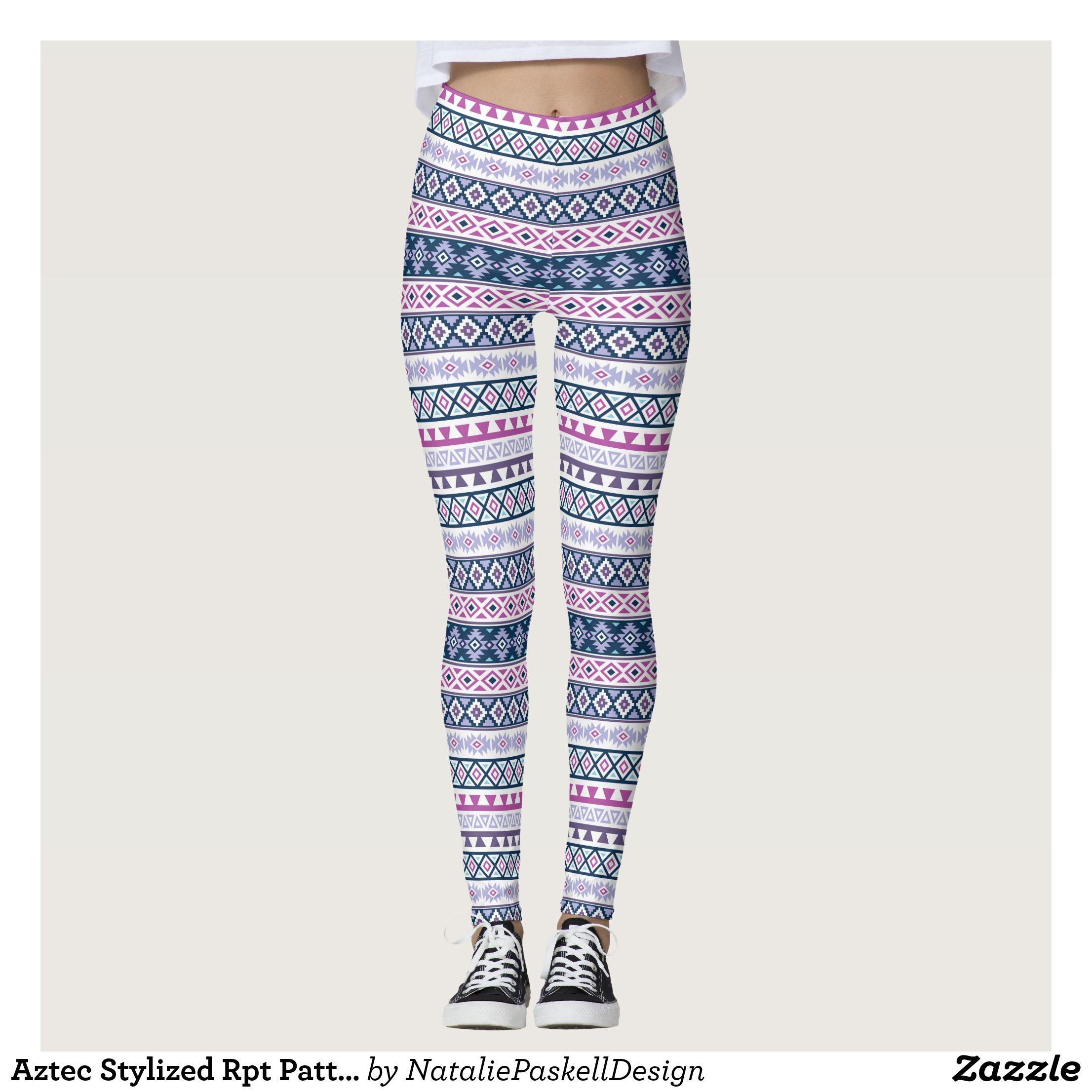 Aztec Stylized Rpt Pattern Pinks Purples Blues Wt Leggings