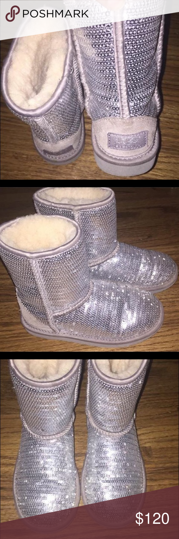 Girls sequin uggs 13 EUC SEQUIN UGGS.      Silver. Size 13 UGG Shoes Winter & Rain Boots