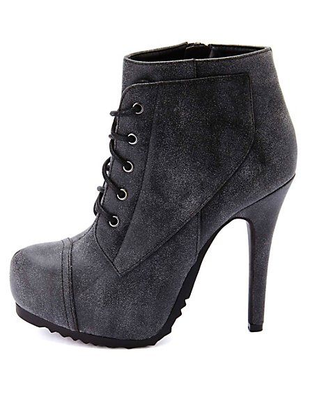 e6c33893b086 Burnished Lace-Up High Heel Combat Booties  CharlotteRusse  CRfashionista   booties