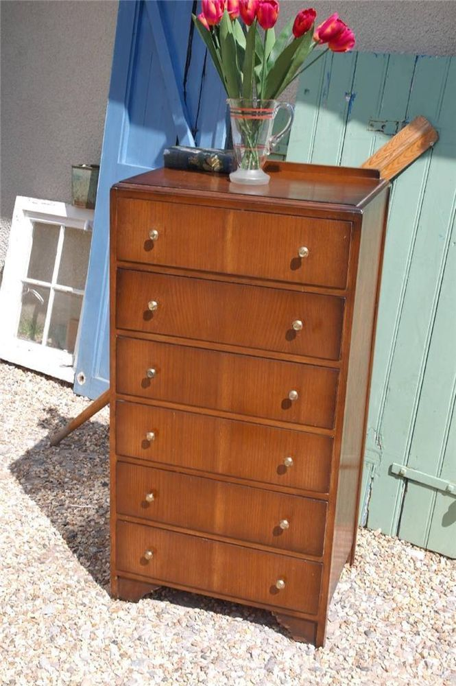 Vintage 1950 S Tall Boy Chest Of Drawers 1940 S Utility Furniture Retro Chic Furniture Chest Of Drawers Drawers