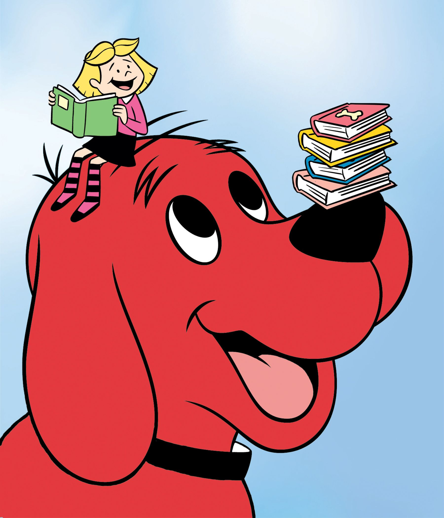 This is a graphic of Superb Clifford the Big Red Dog Clipart