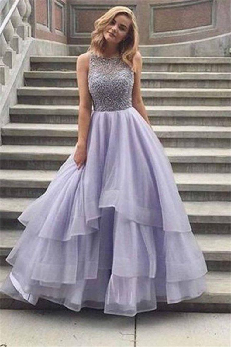Floor Length Long Beading Tulle Open Back Prom Dresses Princess #modestprom