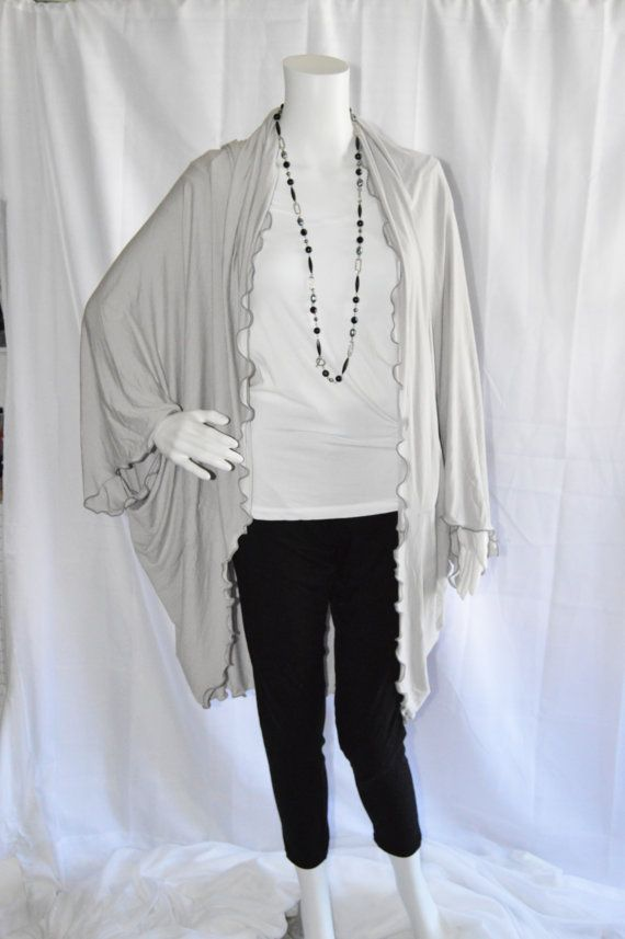 Ruffled Cocoon Cardigan/ Oversized Knit Kimono Wrap/ Long Cocoon ...