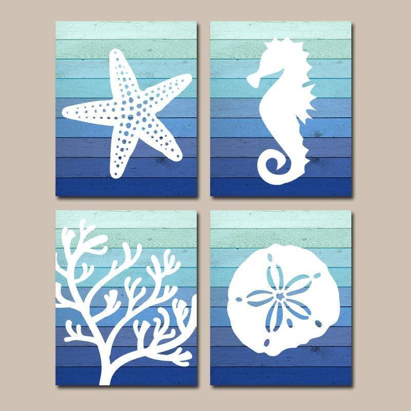 Beach Bathroom Wall Art Ombre Beach Canvas Or Print Nautical Bathroom Decor Starfish Seahorse Coral Nautical Bathroom Decor Bathroom Canvas Bathroom Wall Art