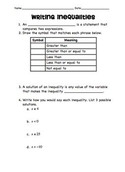 Writing And Graphing Inequalities Guided Notes Activities Ccs 6 Ee B8 Middle School Math Teacher School Algebra Math Expressions