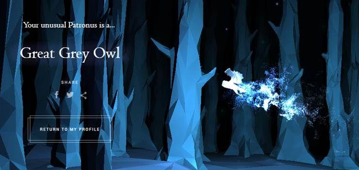 My Pottermore Patronus Is The Great Grey Owl A Patronus Represents