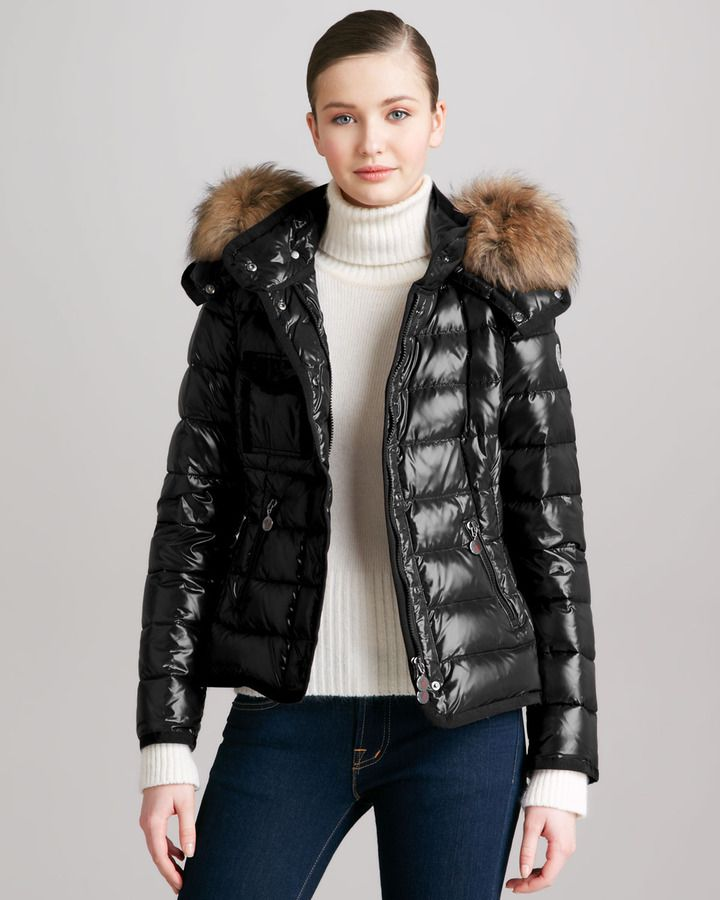 fa03a6b62a26 Moncler Short Puffer Jacket with Fur-Trimmed Hood