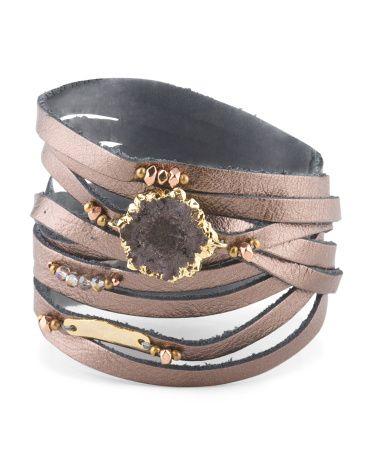 Agate And Gunmetal Leather Multi Wrap Bracelet